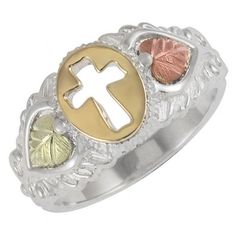 Black Hills Gold Sterling Silver and 10K Gold Cross Ring - MyBlackHillsGold.com