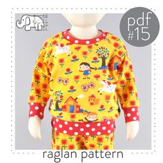 Baby raglan sweater naaipatroon DIGITAL FILE
