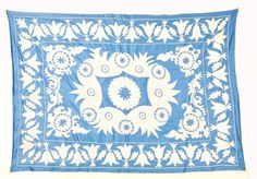 Silk Suzani Blue and White Hand embroidered by EasternHomeDecor, $154.00