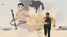 Rey, Finn and Benadie Shekiel Rey And Finn, Bb8, Fan Art, Artwork, Work Of Art, Fanart