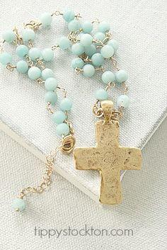 Aqua Agate and Gold Cross Necklace - The Faith Necklace-necklace, handmade, wirewrapped, agate, aqua, hammered cross, pewter, faith, summer, tippy stockton