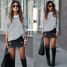 Le stripes #streetfashion #moda #styling #stealthelook #look #looks #ootd #shopthelook #compreolook #roubeolook #stealherlook #stelherstyle #stealthestyle #fashionblog #fashionblogs #blogger #bloggers #overtheknee #couro #Leather