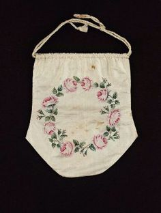 "Bag. American, early 19th century. New England, USA. Silk, pigment / painting - in the Museum of Fine Arts Boston. 9 1/2"" x 8 9/16"""