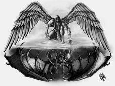Thin Tattoo, Wing Tattoo Men, Wing Tattoo Designs, Forearm Tattoo Men, Body Art Tattoos, Tattoo Drawings, Sleeve Tattoos, Good And Evil Tattoos, Tattoos For Guys