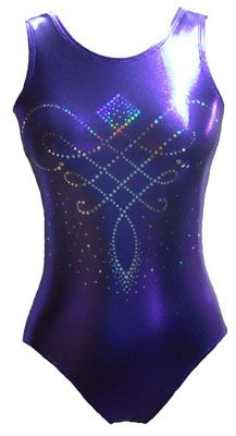 """Declare your need for Bling with our """"Bling Thing"""" Leotard! This dazzling leotard features our new """"No Sting Bling"""" in a gorgeous design on a rich shimmery purple jewel mystique tank."""