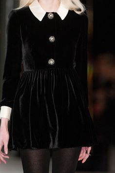 Saint Laurent Fall 2014 in Paris, velvet dress. Visit http://www.karenannlettiere.com for more styling information and tips!