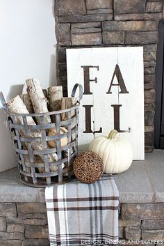Fall Sign and Rustic Mantel Fireplace Decor Fall Home Tour - Taryn Whiteaker Fall Home Decor, Autumn Home, Home Decor Trends, Decor Ideas, Art Decor, Art Ideas, Hm Deco, Fall Fireplace Decor, Fall Decor For Mantel