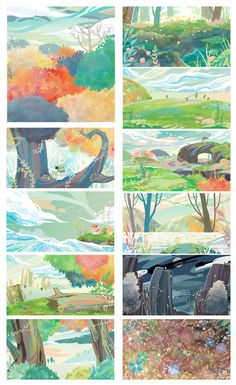 (๑•̀ㅂ•́)وPinterest:TropicalLunar Background Drawing, Cartoon Background, Animation Background, Landscape Drawings, Landscape Art, Landscapes, Art And Illustration, Illustrations Posters, Fantasy Kunst