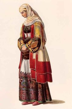 Otto Magnus Baron von Stackelberg July 1786 to 27 March From his visit in Greece Villager from the outskirts of Athens Ancient Greek Costumes, Le Baron, Greek History, Greek Culture, Traditional Fashion, Traditional Outfits, Folk Costume, Western Outfits, Princess Zelda