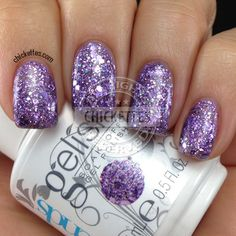Gelish Trends: Too Tough To Be Sweet & Feel Me On Your Fingertips Swatches: Feel Me On Your Fingertips. It's a purple glitter topper with a clear base. I applied three coats to get it to look like this