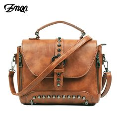 Discount This Month ZMQN Crossbody Bags For Women Messenger Bags 2018 Vintage Leather Bags Handbags Women Famous Brand Rivet Small Shoulder Sac Crossbody Messenger Bag, Leather Crossbody Bag, Leather Handbags, Leather Bags, Pu Leather, Leather Purses, Vegan Leather, Leather Wallets, Women's Handbags