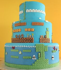 Super Mario Brothers Cake... this is beyond my abilities but it looks AWESOME!