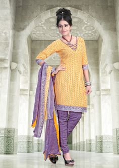 Yellow with purple cotton silk #printedsalwarkameez having printed dupatta.