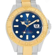 16751 Rolex Yachtmaster Steel Yellow Gold Blue Dial Mens Watch 16623 SwissWatchExpo