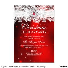 Elegant Lace Bow Red Christmas Holiday Party 5x7 Paper Invitation Card