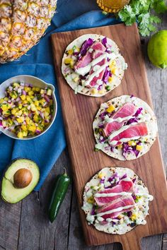Lower Excess Fat Rooster Recipes That Basically Prime Ahi Tuna Tacos With Chunky Pineapple Salsa-Recipe From Fish Recipes, Seafood Recipes, Mexican Food Recipes, Cooking Recipes, Ahi Tuna Recipe, Salsa Recipe, Taco Recipe, Tuna Tacos, Tuna Salad