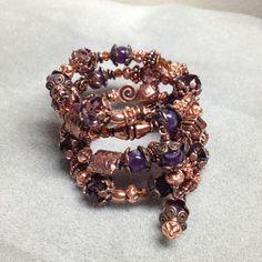 Amethyst, copper & crystal memory wire bracelet