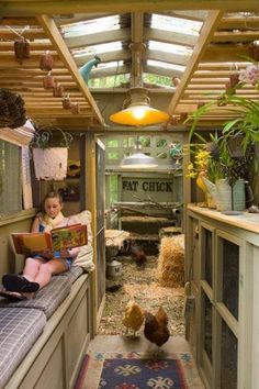 Love this idea for a greenhouse instead with an area to enjoy the sun on a winter day