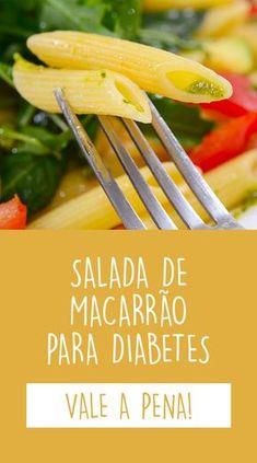 Esta receita de salada de macarrão é boa para diabetes, pois leva macarrão integral, tomate, ervilhas e brócolis, que são alimentos de baixo índice glicêmico e, por isso, ajudam a controlar o açúcar no sangue.