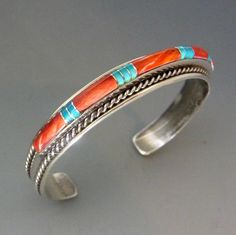 Vintage Navajo B Yazzie Sterling Silver Turquoise And Spiny Oyster Inlay Cuff Bracelet
