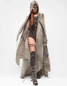 organic cotton detailed hooded no sleeve blanket shawl, removable hood closing by buttons DEMOBAZA Zombie Apocalypse Outfit, Apocalypse Fashion, Apocalypse Aesthetic, Steampunk, Concept Clothing, Dystopian Fashion, Cyberpunk Clothes, Dress With Cardigan, Future Fashion