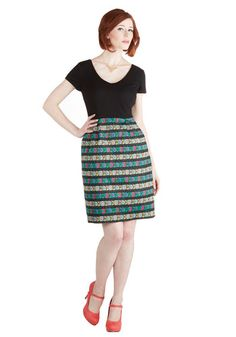 In Creative Company Dress - Multi, Stripes, Floral, Casual, Sheath / Shift, Twofer, Short Sleeves, Exclusives, V Neck, Knit, Woven, Mid-leng...