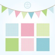 Free Shabby Chic Vector Bunting and Patterns