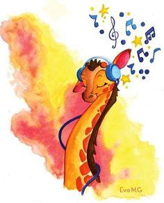 Giraffe cartoon illustration via www.Facebook.com/GleamOfDreams