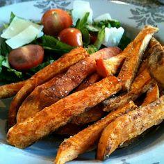 Zoete aardappelfrites uit de oven