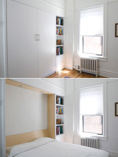 Decorate your room in a new style with murphy bed plans Murphy Bed Ikea, Murphy Bed Plans, One Room Apartment, Apartment Therapy, Brooklyn Apartment, Fold Down Beds, Hideaway Bed, Mini Loft, Modern Murphy Beds