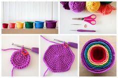 Crochet Rainbow Nesting Baskets Tutorial