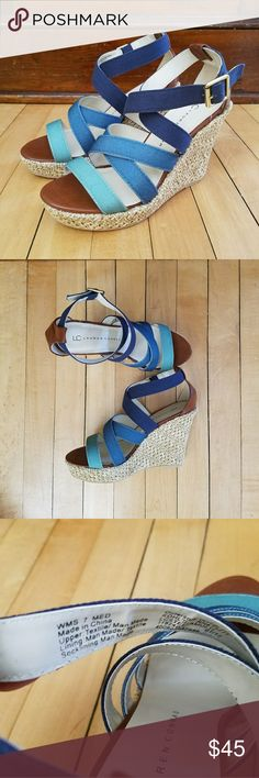"Lauren Conrad LC Stella Multi platform sandals Ombre blues. Heel is 3.25"" added on to a 1"" platform. Never worn, like new! Lauren Conrad Shoes Platforms"