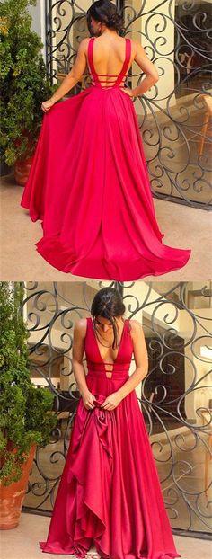 A-Line Deep V-Neck Backless Sweep Train Fuchsia Satin Prom Dress...
