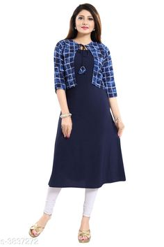 Kurtis & Kurtas ALC Creation Women Solid Crepe Kurti Fabric: Kurti -  Crepe , Jacket - Crepe Sleeve Length: Three-Quarter Sleeves Work / Pattern: Kurti - Solid , Jacket - Printed Combo of: Single Sizes: Kurti - XS - 34in, S - 36in, M - 38 in, L - 40 in, XL - 42 in, XXL - 44 in , Jacket -  XS - 34in, S - 36in, M - 38 in, L - 40 in, XL - 42 in, XXL - 44 in Sizes Available: XS, S, M, L, XL, XXL *Proof of Safe Delivery! Click to know on Safety Standards of Delivery Partners- https://ltl.sh/y_nZrAV3  Catalog Rating: ★4.1 (11759)  Catalog Name: ALC Creation Women Solid Crepe Kurtis CatalogID_538850 C74-SC1001 Code: 824-3837272-