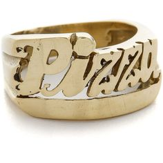 SNASH JEWELRY Pizza Ring ($39) ❤ liked on Polyvore featuring jewelry, rings, accessories, gold, retro jewelry, initial ring, polish jewelry, letter rings and initial jewelry