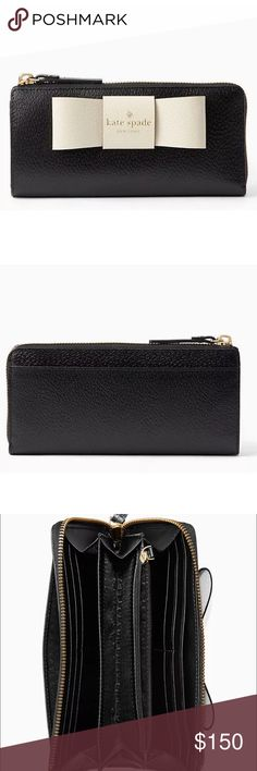 """Kate Spade Matthews Street Nisha Wallet - B/W New with Tags - Factory packaging, tags, and tissue all are included.   Product Details: - 3.6""""h x 7.5""""w - Boarskin embossed leather w/ matching trim - Capital kate jacquard lining - Zip around continental wallet - 8 credit card slots; 3 billfolds; interior zip pocket; exterior slide pocket - Gold Staple Kate Spade New York Signature - style # WLRU2638 - Black & Porcini kate spade Bags Wallets"""