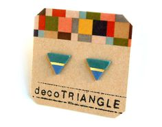 Porcelain triangle stud earrings turquoies gold blue by decoSQUARE, $16.50