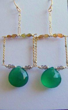 Green Onyx Teardrop & Tourmaline Earrings by HalliesComet on Etsy, $104.00