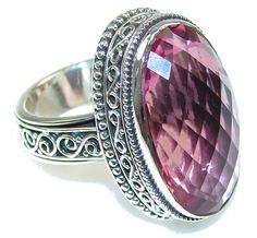 $68.15 Amazing Raspberry Quartz Sterling Silver Ring s. 8 at www.SilverRushStyle.com #ring #handmade #jewelry #silver #quartz