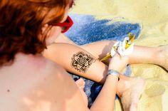 Some beach henna. A mandala on the ankle. Henna by J.U.Henna Tattoo in Philadelphia, PA. www.juhennatattoo.com