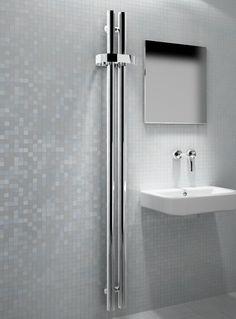 Kudox Designer Towel Rail HeatBar Twin x Chrome Waterfall Shower, Towel Rail, Radiators, Home Renovation, Sink, Chrome, Interior Ideas, Bathrooms, Design