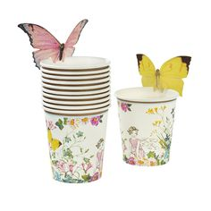 These paper cups are every little birthday fairy's dream! Featuring a beautiful floral fairy setting design, these cups come with sweet butterflies to attach to the top of your cups, adding that extra