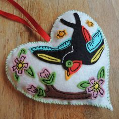 Old School Tattoo Inspired Felt Heart by MyArtandSoulUK on Etsy, Pretty Birds, Bird Art, Old School, Coin Purse, Christmas Ornaments, Inspired, Tattoos, Holiday Decor, Heart