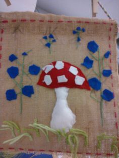 Sienitaulu: etupisto, ryijypisto, nyöri Felt, Fabric, Kids, Crafts, Threading, Tejido, Toddlers, Felting, Tela