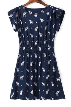 Full Elephant Print A Line Dress