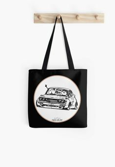 'Crazy Car Art Tote Bag by ozizo Cotton Tote Bags, Reusable Tote Bags, Pink Skull, Car Illustration, Weird Cars, Kustom Kulture, Coffee Cups, Throw Pillows, Tapestries