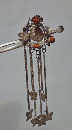 Japanese Kanzashi Hair Ornament, Silver & Coral