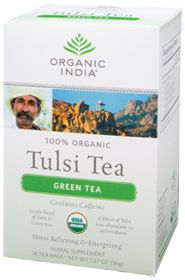Tulsi Green Tea by Organic India USA - Buy Tulsi Green Tea 18 Tea Bags at the Vitamin Shoppe #vitaminshoppe #greenforgreen #contest