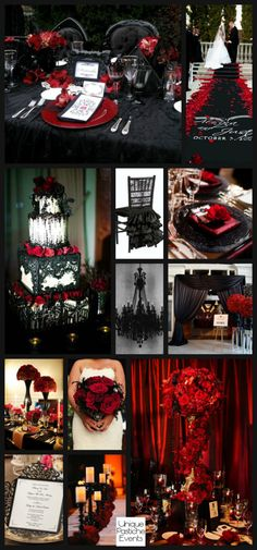 Glamorous Gothic Halloween Wedding in Black and Red #IdeaBoard #InspirationBoard