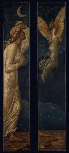 Sir Edward Coley Burne-Jones,(1833–1898) British Pre-Raphaelite artist and designer. Oil on canvas Birmingham Museum and Art Gallery, UK ___ From the series of twelve panels, based on 'The Story of Cupid and Psyche' from William Morris's epic poem, 'The Earthly Paradise', commissioned by the 9th Earl of Carlisle for his newly-built home in No 1 Palace Green, Kensington.